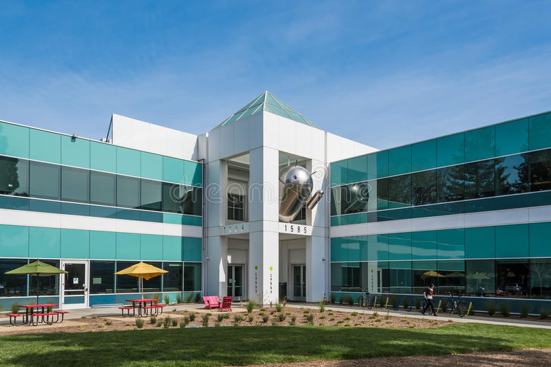 Android Building on Google Campus. Mountain View, CA, USA - March 3, 2017: Android statue waving from the second floor of Android Building on Google campus in royalty free stock photography