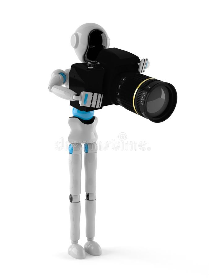 Android with camera. On white background vector illustration