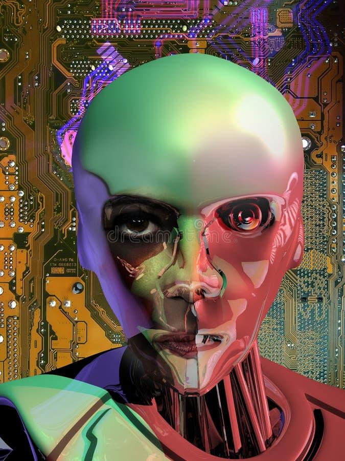 Android cerca de la inteligencia humana stock de ilustración