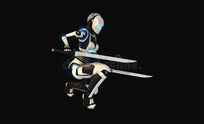Android character. 3d render of android character stock illustration