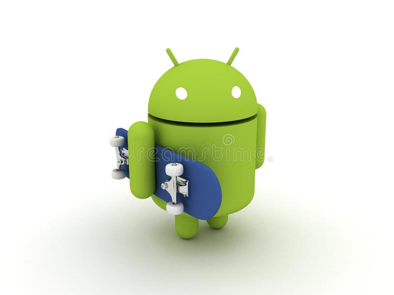Android Character with Skateboard. Google Android Operating System Character with Skateboard royalty free illustration