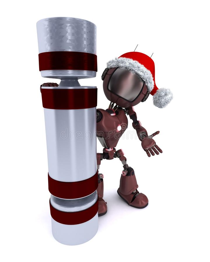 Android with a christmas cracker royalty free illustration