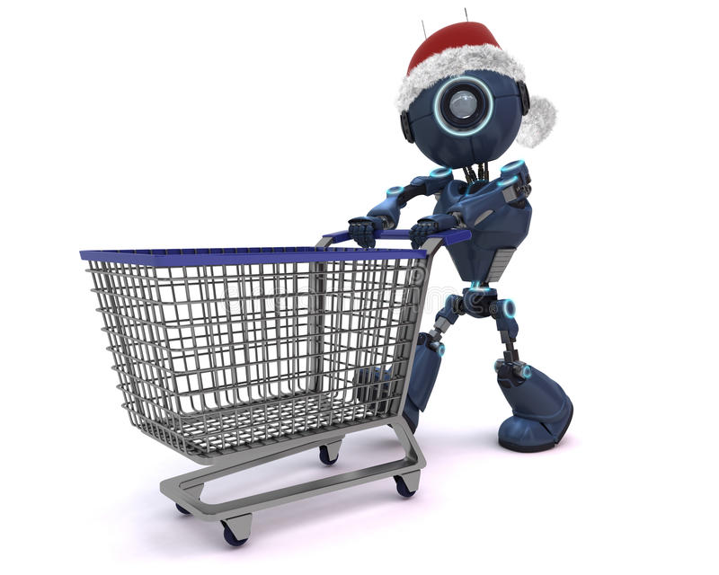Android Christmas Shopping. 3D render of an Android Christmas Shopping royalty free illustration