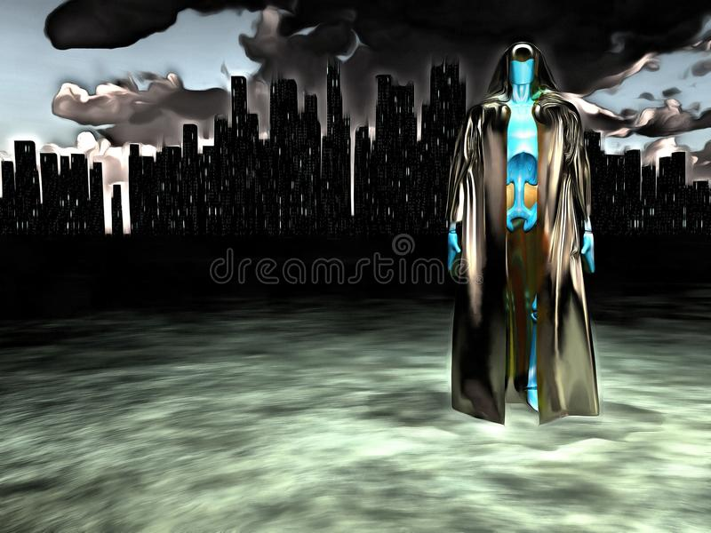 Android before city. Surreal painting. Android in cloak stands before futuristic city. Human elements were created with 3D software and are not from any actual stock illustration