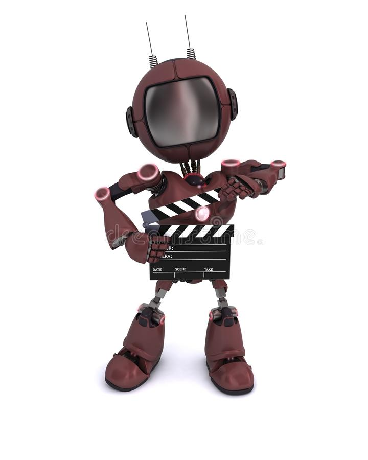 Android with clapper board stock illustration