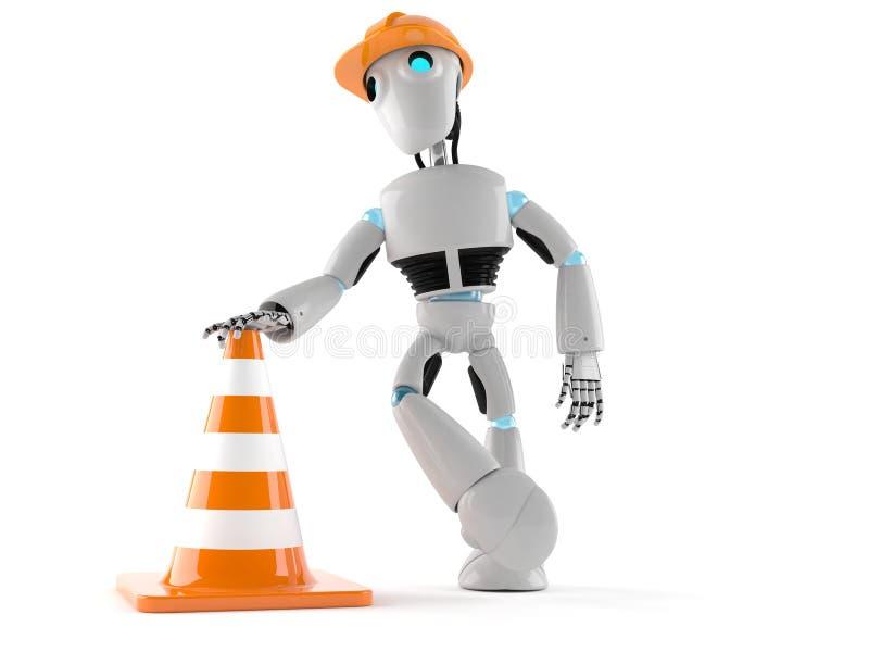 Android com cone do tráfego ilustração do vetor
