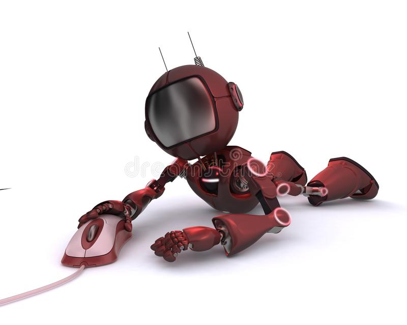 Android with computer mouse stock illustration