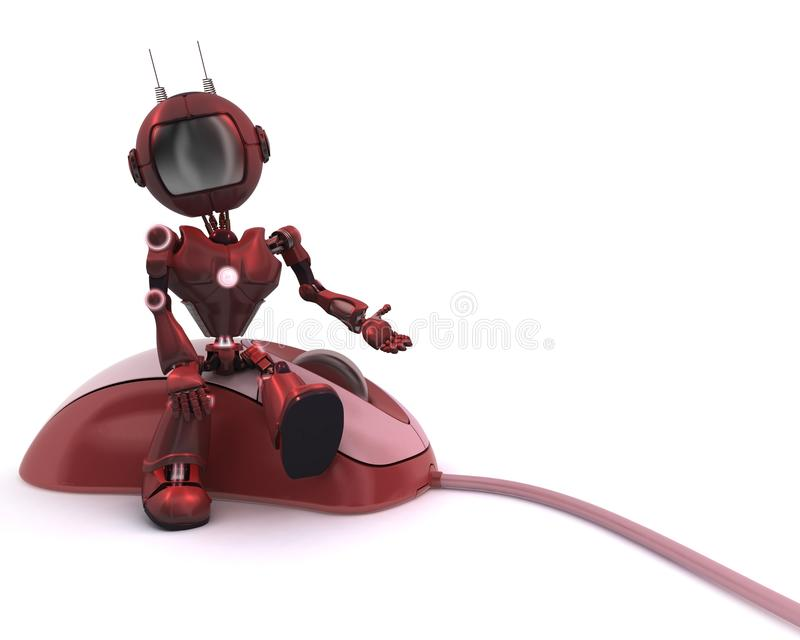 Android with computer mouse royalty free illustration