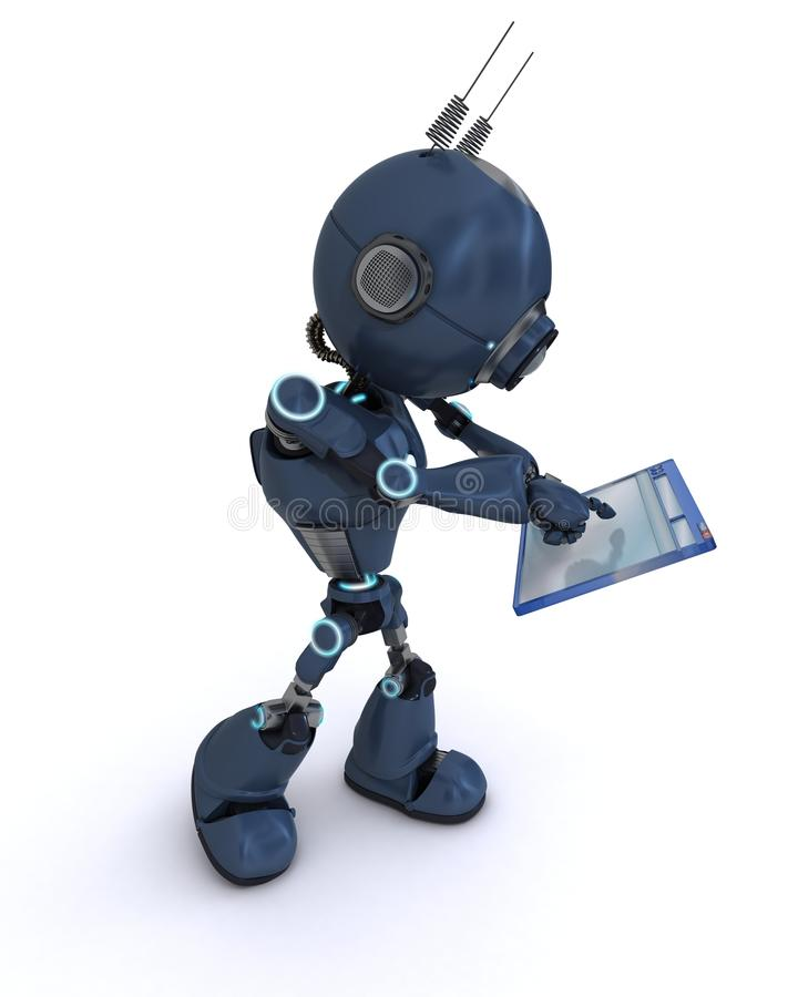 Android with computer window. 3D Render of an Android with computer window vector illustration