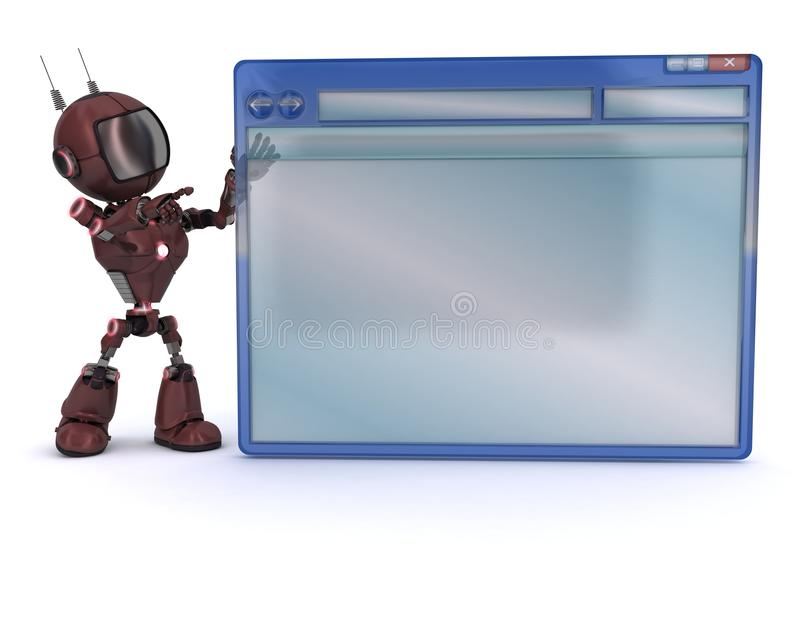 Android with computer window vector illustration
