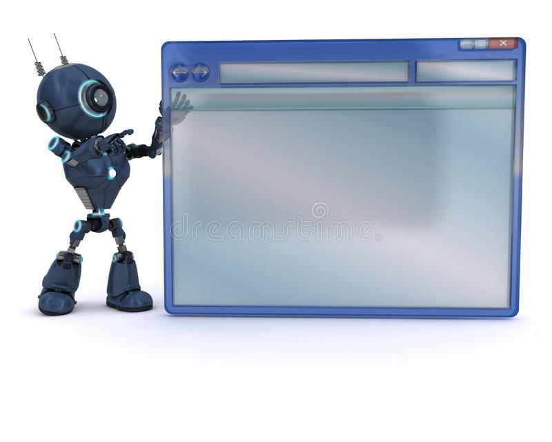 Android with computer window stock illustration