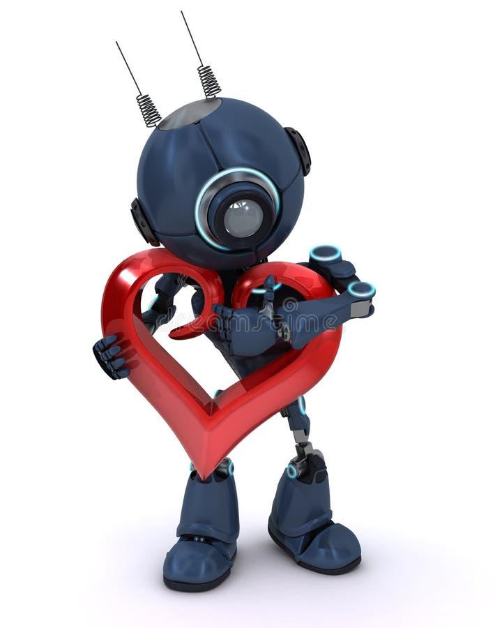 Android con cuore royalty illustrazione gratis