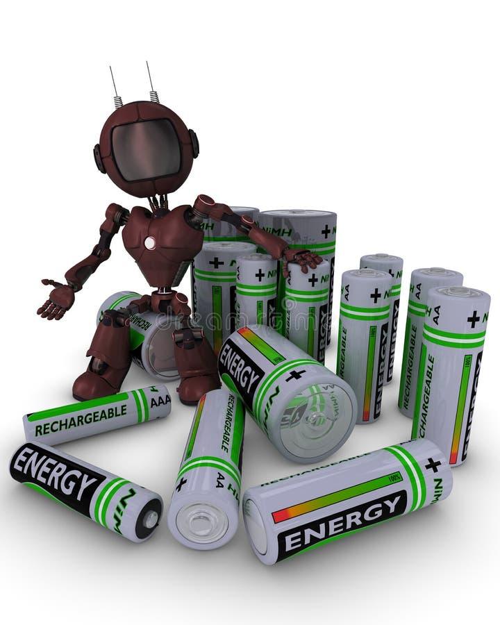 Android con las baterías stock de ilustración