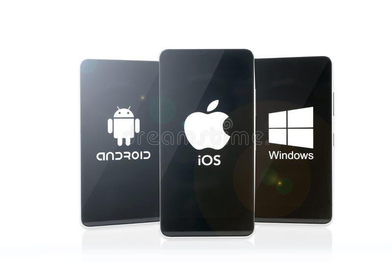 Android contra el IOS contra Windows imagen de archivo libre de regalías