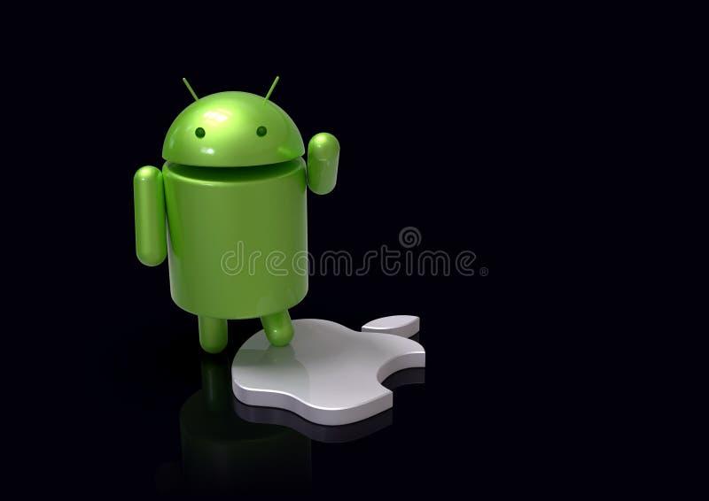 Android contra el s?mbolo de la competencia del IOS de Apple - caracteres del logotipo stock de ilustración