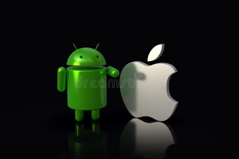 Android contra IOS de Apple - caracteres del logotipo 3D, de lado a lado ilustración del vector
