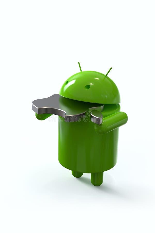 Android contra o símbolo da competição de Apple, caráteres do logotipo ilustração do vetor