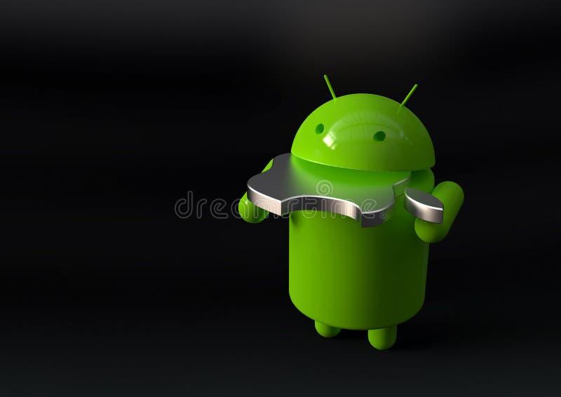 Android contra símbolo de la competencia del IOS de Apple stock de ilustración