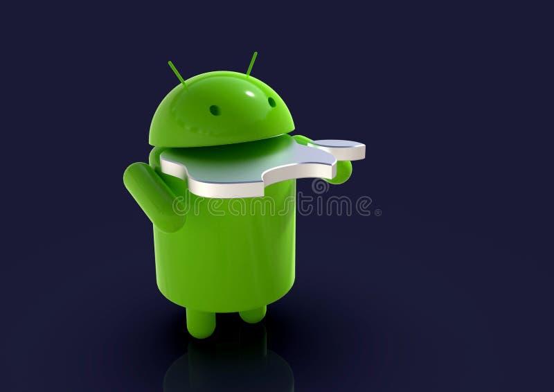 Android contre le symbole de concurrence d'IOS d'Apple - caractères de logo illustration libre de droits
