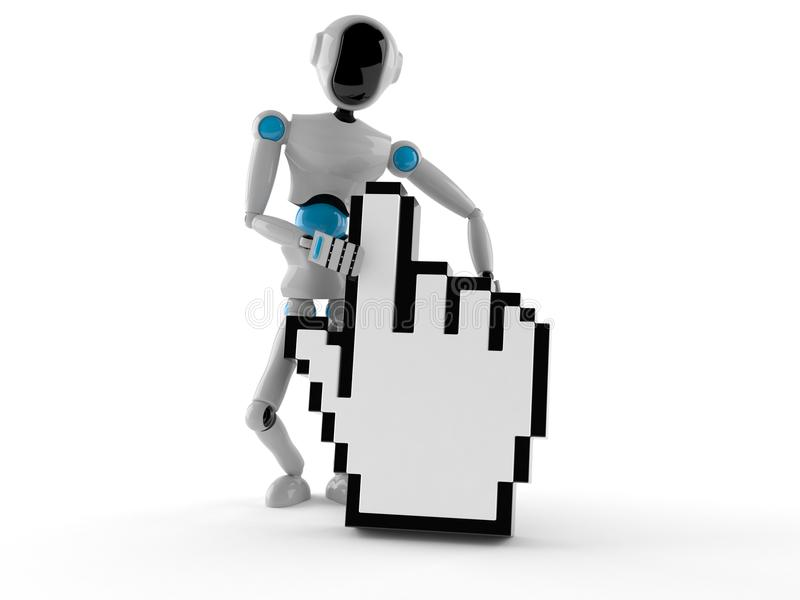 Android with cursor. On white background royalty free illustration