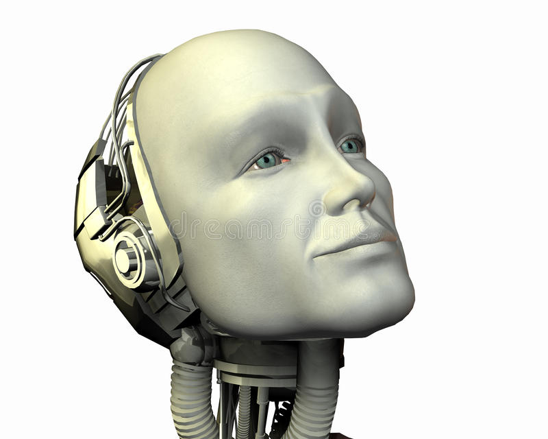 Android, cybernetic intelligence. Machine in 3d royalty free illustration