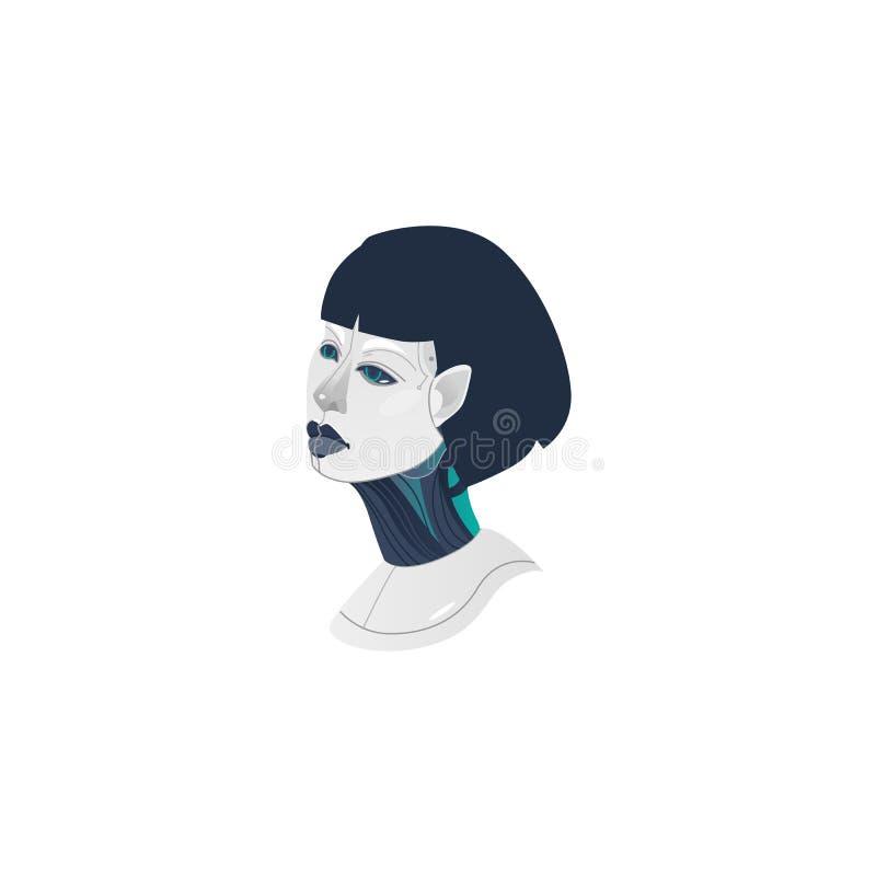 Android, cyborg, de robothoofd van de humanoidvrouw royalty-vrije illustratie