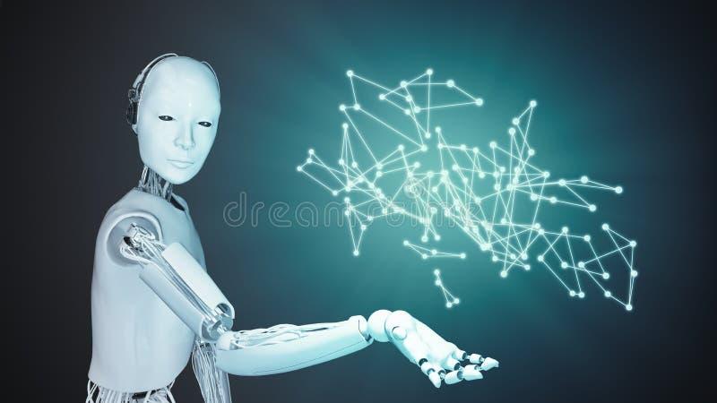 Android 3D illustration - automation och konstgjord intelligens royaltyfri illustrationer