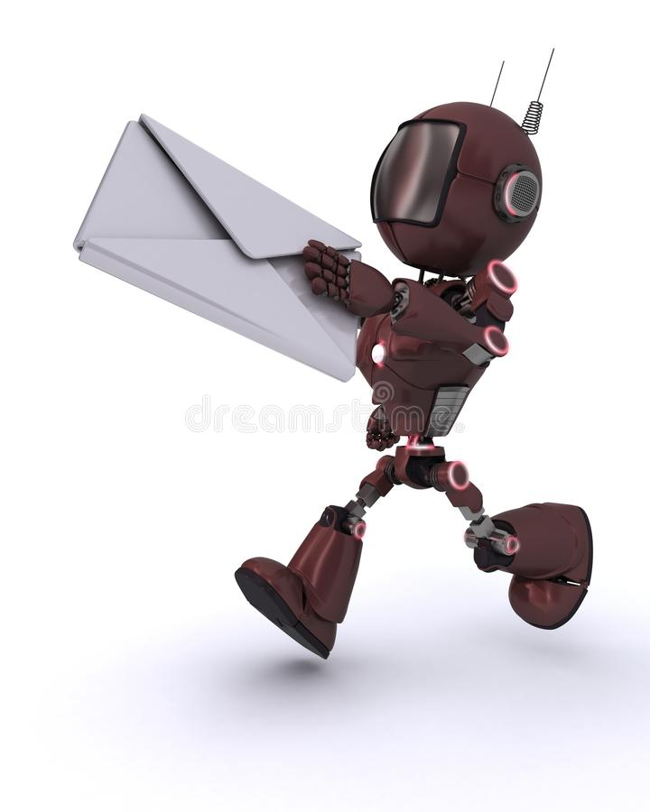 Android delivering a letter. 3D Render of an Android delivering a letter vector illustration