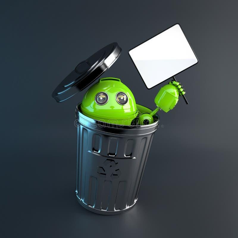 Android dentro il bidone della spazzatura. Elettronico ricicli il concetto illustrazione vettoriale