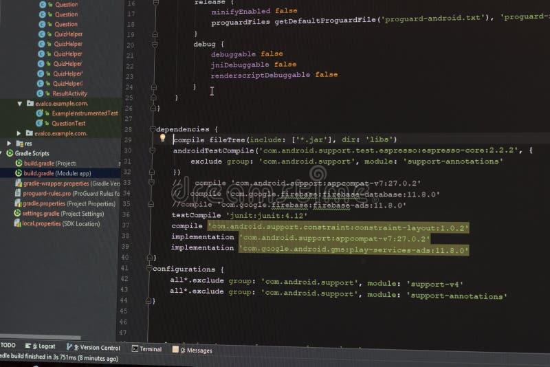 Android development manifest file coding. Monitor screen stock photo