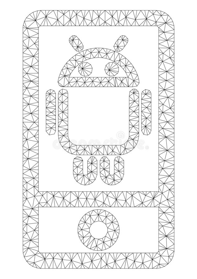 Android Device Polygonal Frame Vector Mesh Illustration. Mesh Android device polygonal 2d illustration. Abstract mesh lines and dots form triangular Android vector illustration