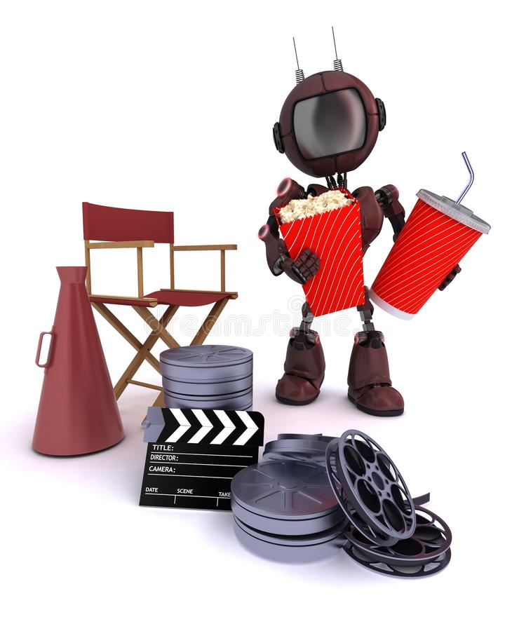 Android with directors chair popcorn and soda stock illustration