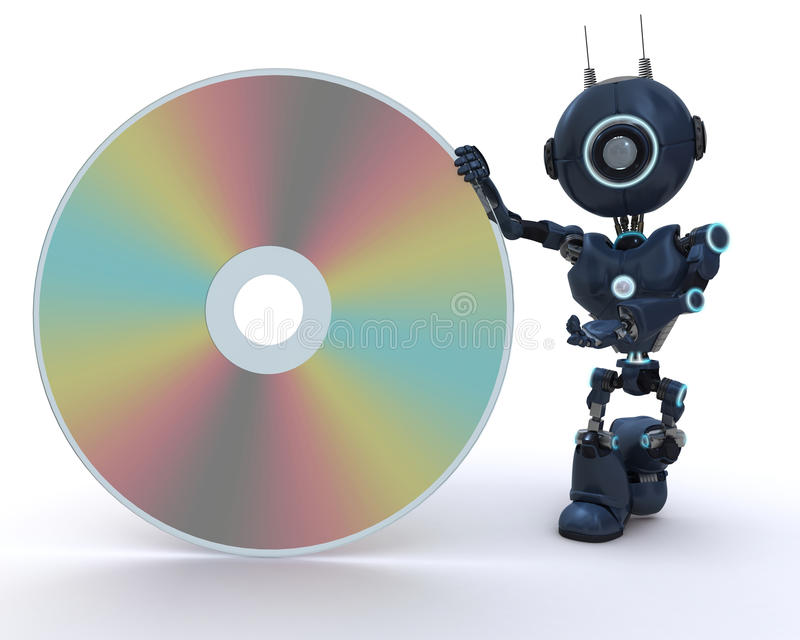 Android with DVD Disc vector illustration