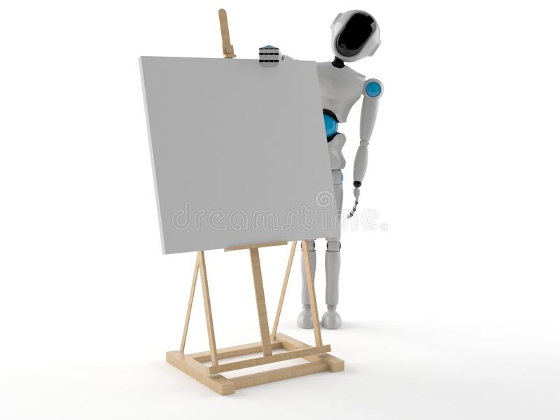 Android with easel. Isolated on white background royalty free illustration