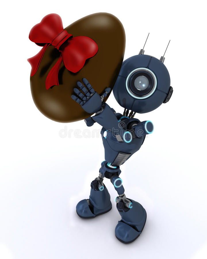 Android with easter egg stock illustration