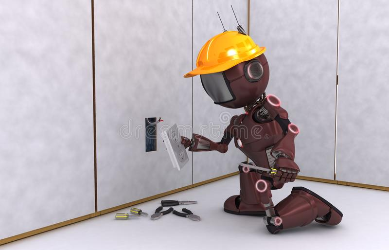 Android electrical contractor. 3D Render of an Android electrician royalty free illustration