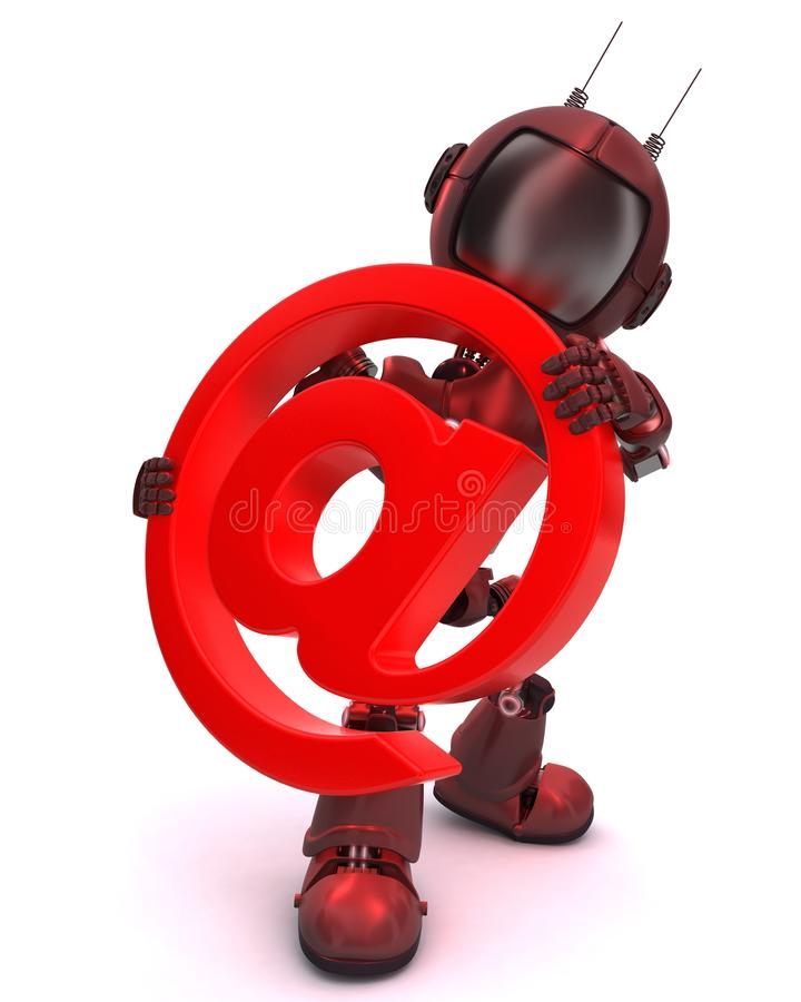 Android with email @ symbol stock illustration