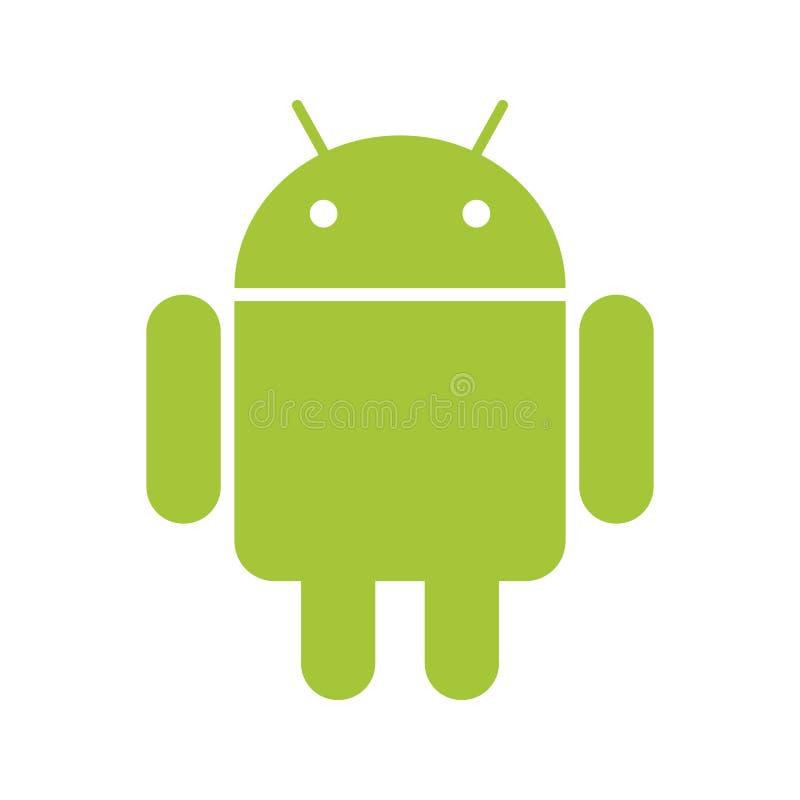 Android-Emblemgrünroboter auf weißem BG vektor abbildung