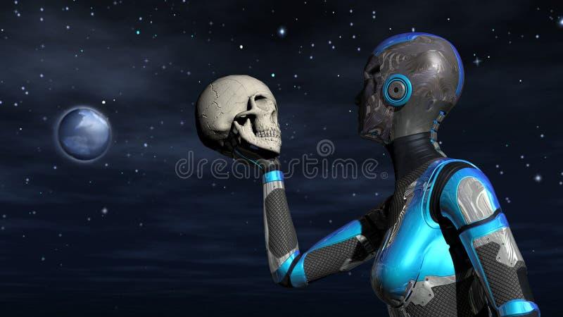 Android fêmea futurista no espaço que guarda o crânio humano ilustração do vetor