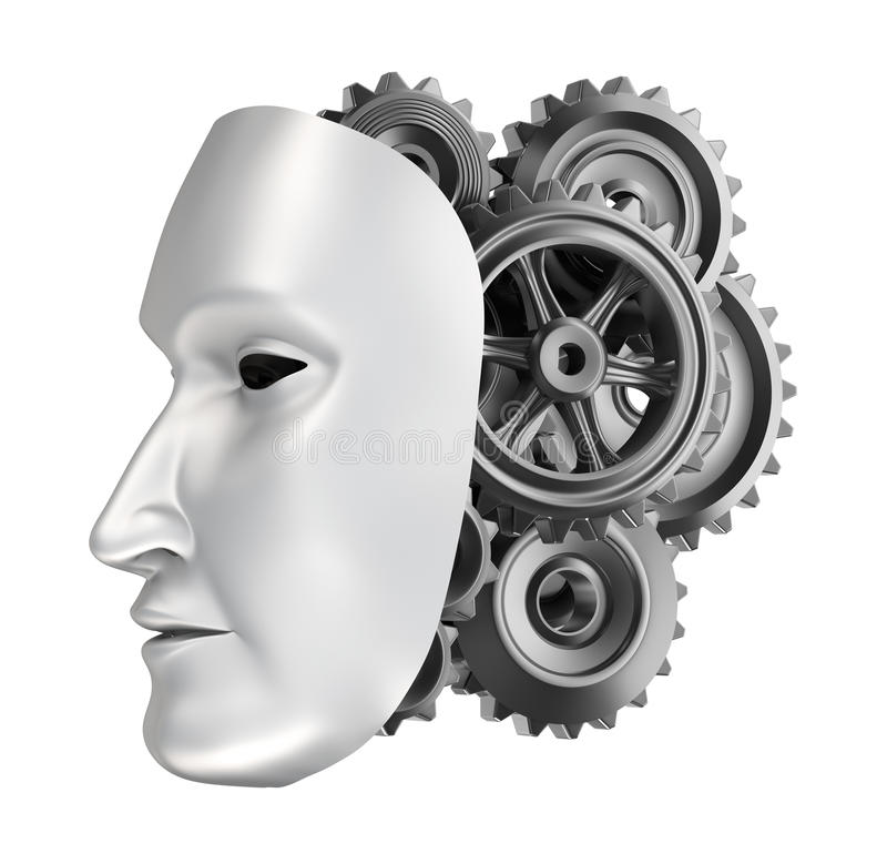 Android face - gear brains. Over white stock illustration