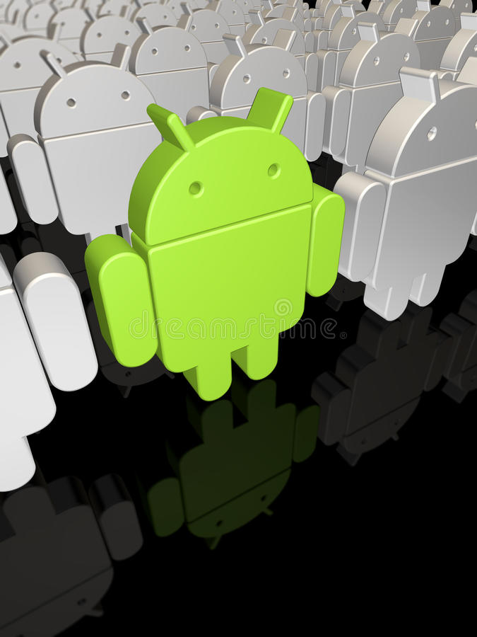 Android factory. Android commercial for mobile devices royalty free illustration