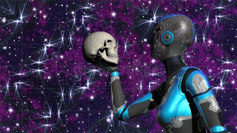 Android femelle futuriste dans l'espace lointain tenant le crâne humain illustration libre de droits