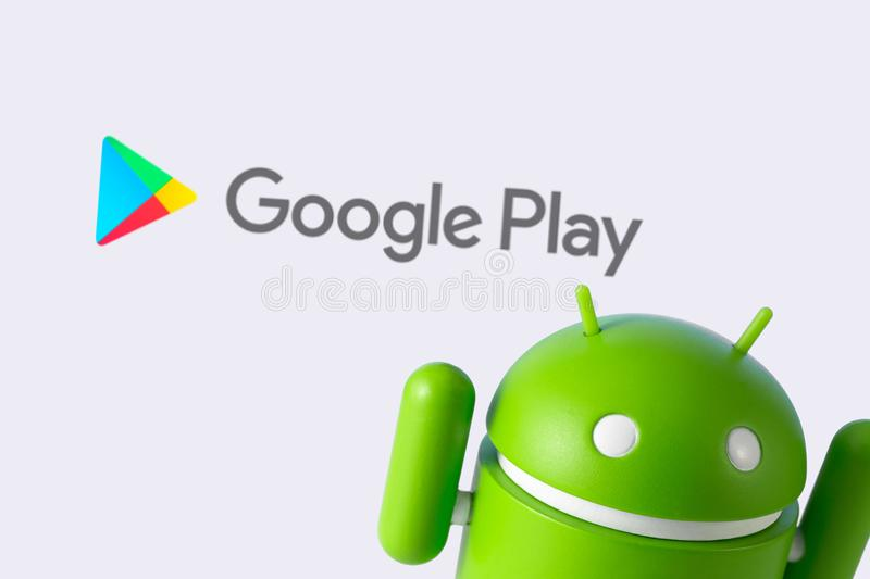 Android figure and Google Play stock image