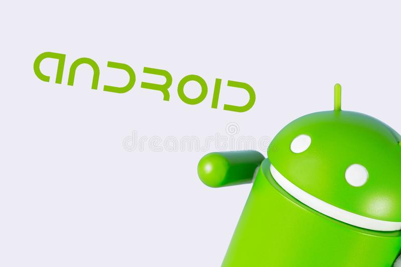 Android figure on the white background. Android is the operating system for smart phones, tablet computers. Chelybinsk, Russia - November 14, 2017 royalty free stock images
