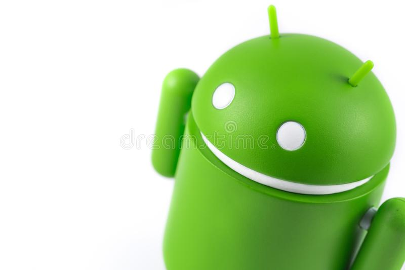 Android figure on the white background. Android is the operatin. G system for smart phones, tablet computers, e-books, game consoles, and other devices stock images