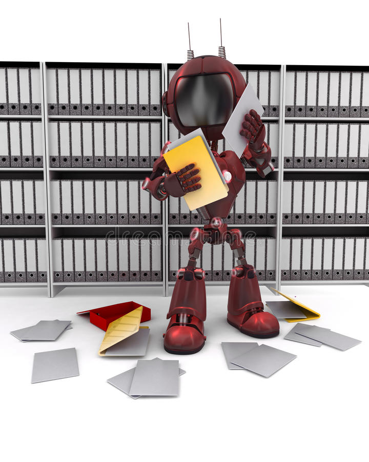Android filing documents. 3D Render of an Android filing documents vector illustration