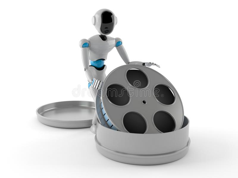 Android with film reel. Isolated on white background stock illustration