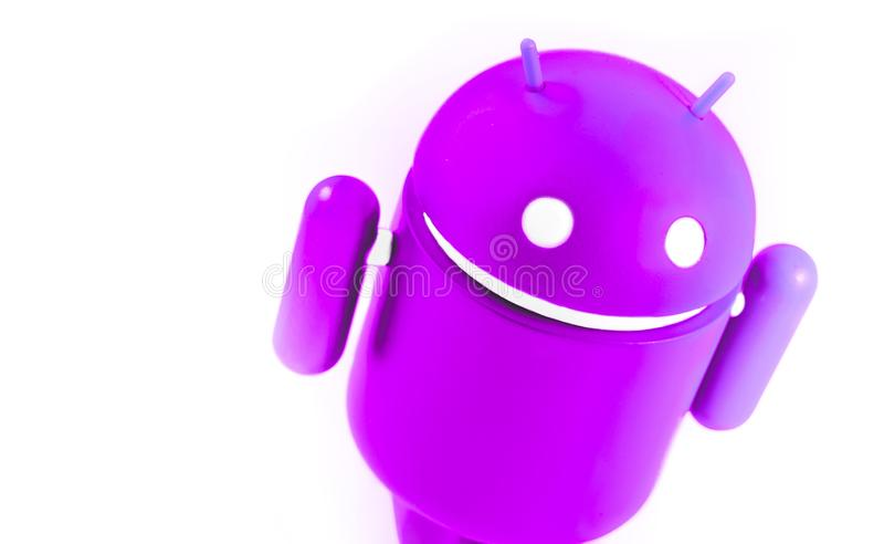 Android fuchsia symbol figure on the white background. Android is the op. Erating system for smart phones, tablet computers, e-books, game consoles, and other royalty free stock photo