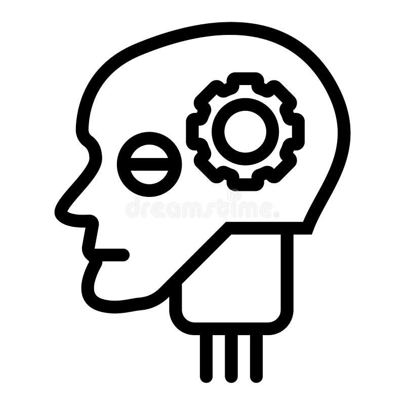 Android głowa z przekładni linii ikoną Sztucznej inteligenci wektorowa ilustracja odizolowywająca na bielu Robot głowy kontur ilustracji