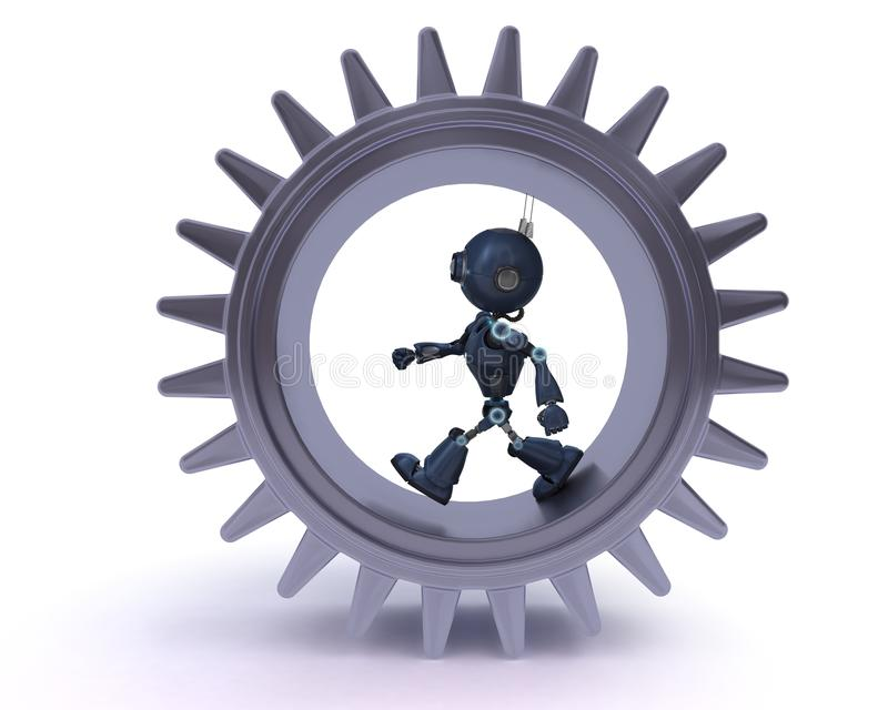 Android and gears concept royalty free illustration